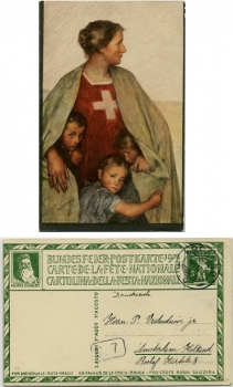 Bundesfeierpostkarte 1917 Nr. 16 / AK Patriotik Mutter Helvetia