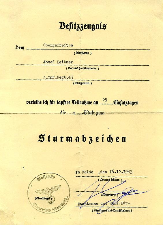 plasselb SammlerShop - Verleihungsurkunde / Besitzzeugnis STURMABZEICHEN